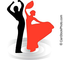Dance silhouette, man and woman, red and black, on white background.