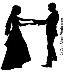 Dance silhouette of a wedding couple. Bride and groom are dancing