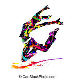 dance - silhouette of woman with paint splashes jumping for...
