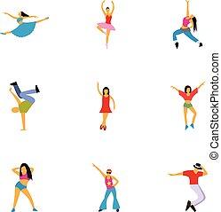 Dance styles icons set, flat style