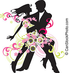 Vector silhouette of dancing man and woman