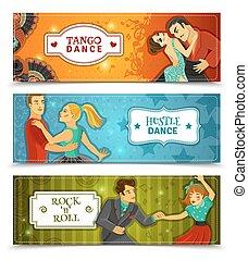 Dance Vintage Horizontal Flat banners Set
