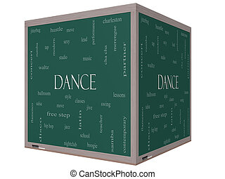 Dance Word Cloud Concept on a 3D cube Blackboard