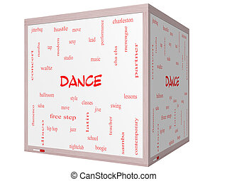Dance Word Cloud Concept on a 3D cube Whiteboard