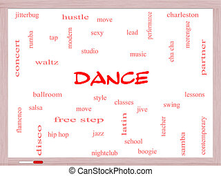 Dance Word Cloud Concept on a Whiteboard