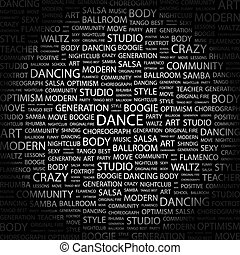 DANCE. Word cloud illustration. Tag cloud concept collage.