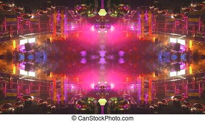 dancefloor, tłum, taniec, do góry, nightclub, wielki, zapas...