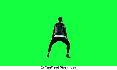 Dancer against a green background