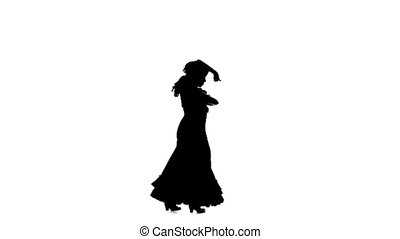 Dancer an incendiary dance of Argentine flamenco. White...