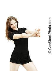 Dancer at motion closeup