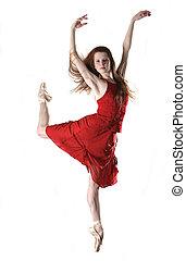 Dancer - Beautiful Ballerina in Red Dress