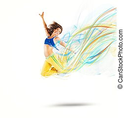 Dancer colors - Dancer jumps leaving a strip of colors
