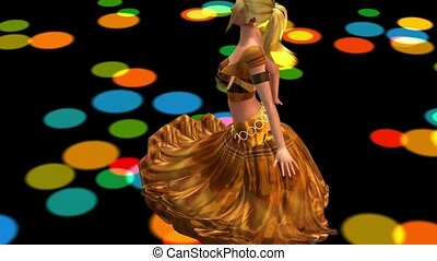 dancer dancing merrily on dance floor. dress&gold skirt with colorful stage light.