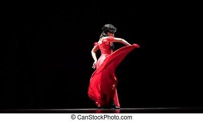 Dancer elegant movements with her hands in sexual dance....