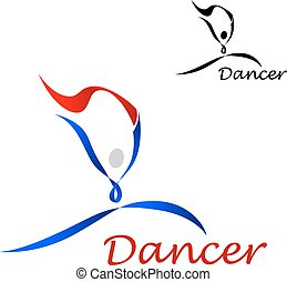Dancer icon with abstract figure of curling lines
