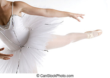 dancer in a white tutu on a white background