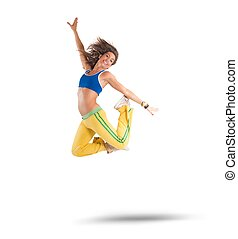 Dancer jumps - A dancer jumps in a zumba choreography