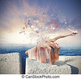 Dancer paints the sky