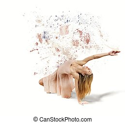 Dancer paints the white background