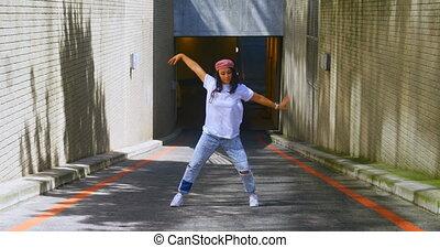Dancer practicing dance on asphalt road 4k - Dancer ...