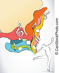 Dancer Silhouette with Colorful Waves and Music Notes