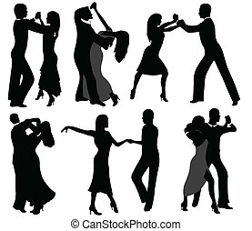 Dancer silhouettes isolated on white