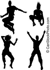 Young dancer silhouettes isolalated on white background