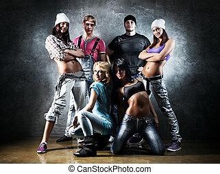 Dancer team. Contrast colors effect.