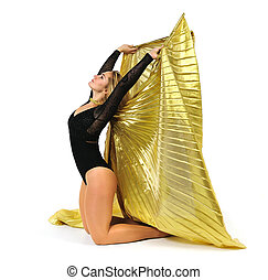 Dancer with golden wings on a white background.