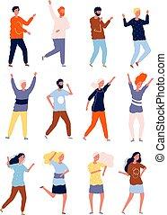 dancers., 群集, 人々, クラブ, ダンサー, コレクション, 定型, ベクトル, 特徴, 夜, パーティー, 幸せ
