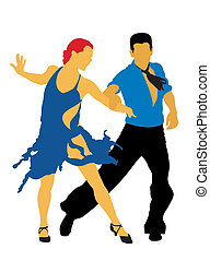 Dancers - Abstract vector illustration of latin american...