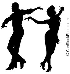 Dancers - Abstract vector illustration of latin american ...