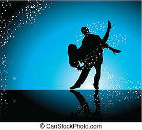 Dancers - Couple dancing on blue background surrounded by...