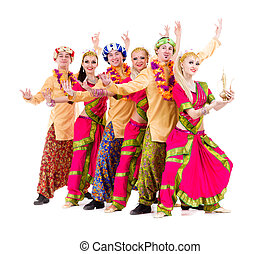 dancers dressed in Indian costumes posing - dance team...