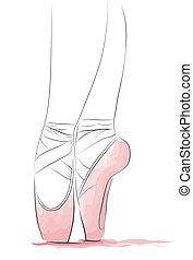 Dancer's feet en pointe - Closeup of feet of a ballet dancer...