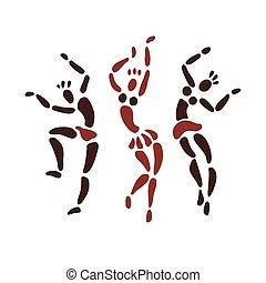 dancers., figuren, afrikaan