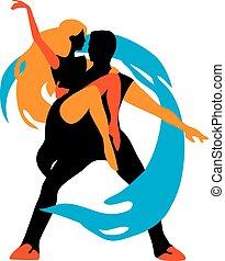 dancers., grafico, silhouette, isolato, illustrazione, vettore