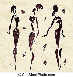 dancers., illustration., hand, figuren, afrikaan, getrokken