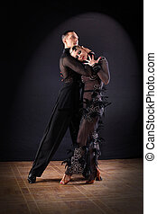 Dancers in ballroom isolated