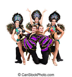 Dancers in carnival costumes posing