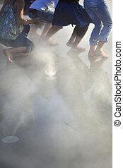 Dancers in mist