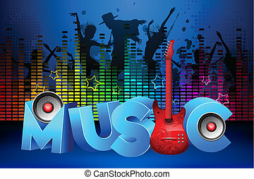 illustration of people dancing in party on colorful musical background