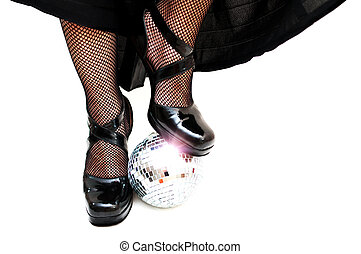 dancers legs with disco ball