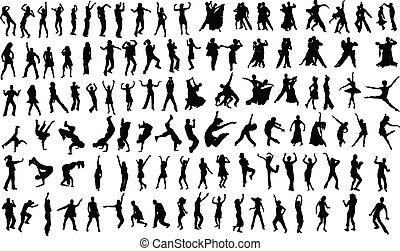 Dancers - Lots of silhouettes of dancing people. Vector
