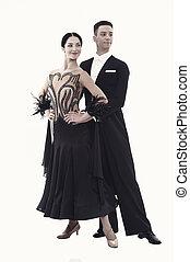 dancers., moda, amore, famiglia, vestire, concept., isolato, fiducioso, nero, proposta, donna, tuxedo., sala ballo, coppia, atteggiarsi, white., data, sexy, giorno, uomo, valentines, o