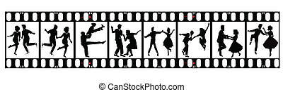 dancers on film - dancers in silhouette on 35 mm film...