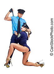 dancers police officers - two beautiful striptease dancers...