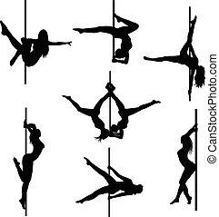 dancers., set, pole., polo, silhouette, vettore, sexy, donne