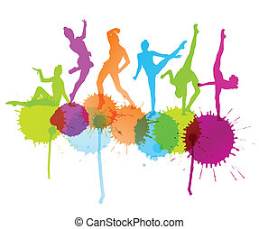 Dancers silhouette vector abstract background concept