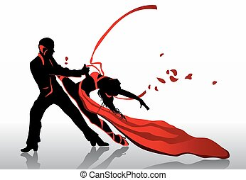 Dancers - Beautiful couple in passionate dance.